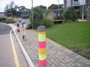Line of warm bollards