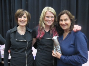Katrina, Nicole two of our fabulous hairdressers, with Carly