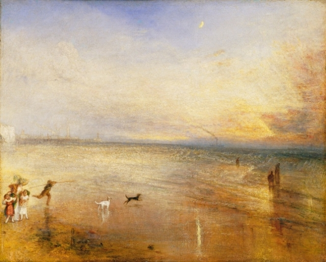 JMW Turner, The New Moon or, `I've lost My Boat, You shan't have Your Hoop exhibited 1840, Oil on Mahogany credit Tate, London SMALL (1)