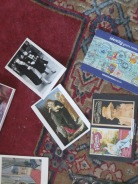 Mantlepiece postcards in close up