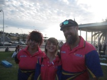 Kelly, not sure of name, and Richard in their organiser shirts
