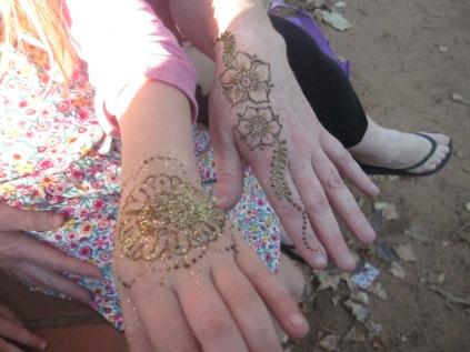 Glittery henna tattoos