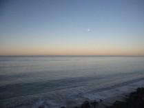 Waning moon at the beach