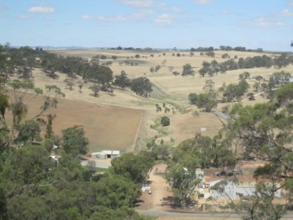 Looking east from top of the Big Hill - note creek and farm buildings