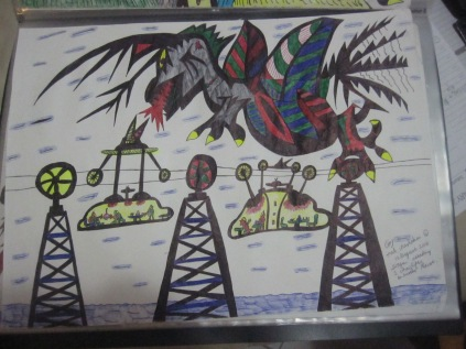 """This picture is called """"Dragon attacking two chairlifts on another planet"""""""