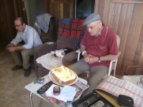 Birthday boy, Richard, the cat and the cake