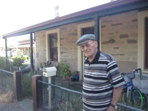 Dad out the front of the house he grew up in