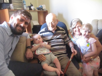 Four generations - Jarryd, Jack, Dad, Jane and Emma. Note the glorious glow of dad's head without the hat...