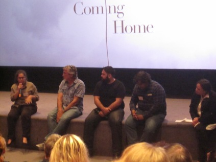 Kiara, Allan, Victor, Isaac and Leanne talking after the showing of the film