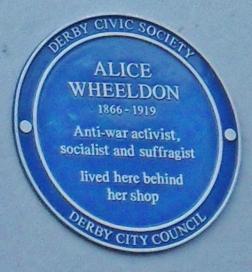 'Blue plaque' commemorating Alice in Derby