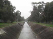 The creek/drain from the bridge on Oaklands Road