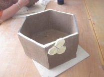 Hexagon pot ready to be fired