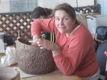 Kat and textured pot