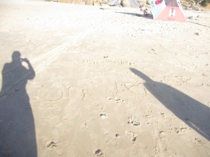 Shadows (inc mine holding the camera) and indecipherable messages in the sand