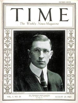 Time magazine cover from 1923, featuring one of the 'discoverers' of insulin, the Canadian, Banting