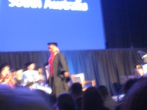 And here she is walking off the stage