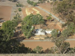 Shearing sheds on the farm from the top of the hill (you can see the sheep getting ready to be shorn