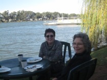 Megan and Kaye having breakfast by the river