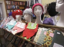 Hats, teatowels, handcrafted serviette holders (!), patchwork potholders