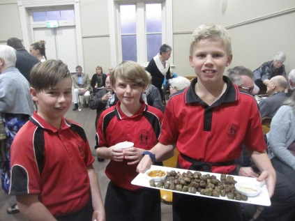 Waiting staff - the kids helped make the food at school earlier in the day