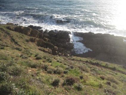 Waves entering a little bay in the rocks