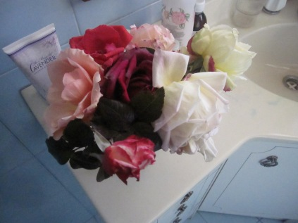 Roses from dad's garden in my bathroom