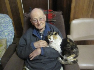 The last photo of the two of them - cat with skin cancer on her nose - taken on Father's Day