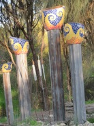 Gorgeous mosaic posts at the entrance to someone's house