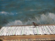 Sparrow in a cafe (painting of the sea as a backdrop)