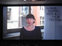 CEO of the Human Rights Art Festival - last year's award winner, talkinb by video