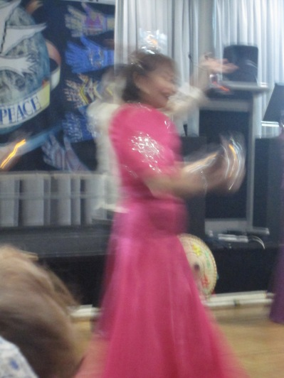 One of the dancers in action - they had candles on their head and moved too fast for my picture