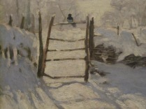 Picture of northern hemisphere magpie in the snow - from a painting by Claude Monet in the Art Gallery for an exhibition in the winter