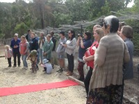 The crowd and the 'red carpet' (Cathy from the trust in the foreground)