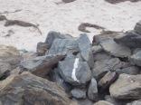 Beach sand behind the rocks