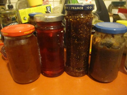 Home made jams and chutneys - orange marmalade, quince jelly, fig jam and fig chutney