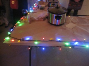 Lights on the food table