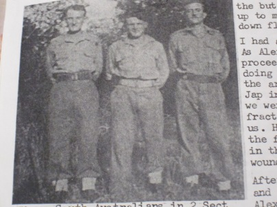 Blurry photo of dad, Ronnie Jamieson and Alec Russell, from dad's battalion newsletter