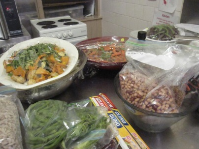 Salads in process