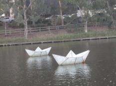 Part of the boat sculpture on the river