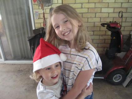 Great grandson Jack (as Santa) and great granddaughter Emma