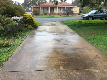 Rain and light reflections on the driveway in Auburn